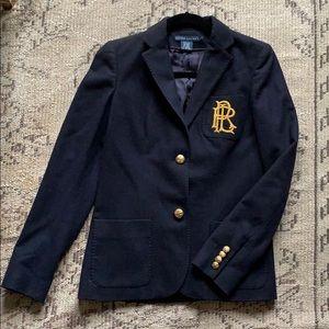 Classic Ralph Lauren navy blazer with pocket crest